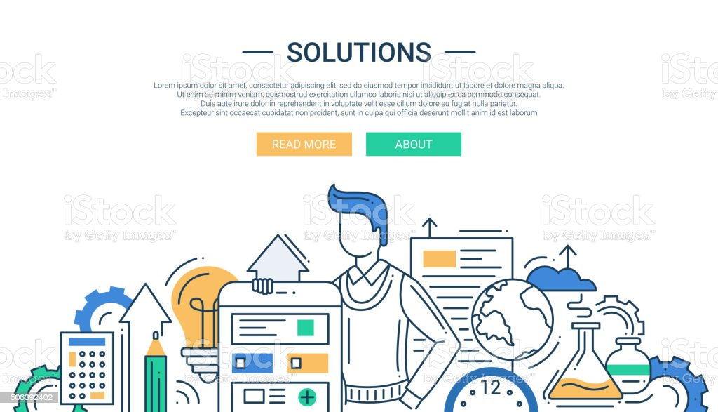 Solutions line flat design banner with male and business tools vector art illustration