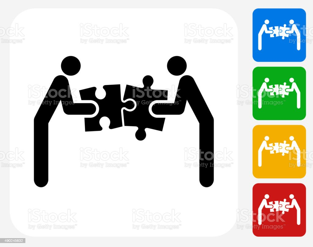 Solving Puzzle Group Icon Flat Graphic Design vector art illustration