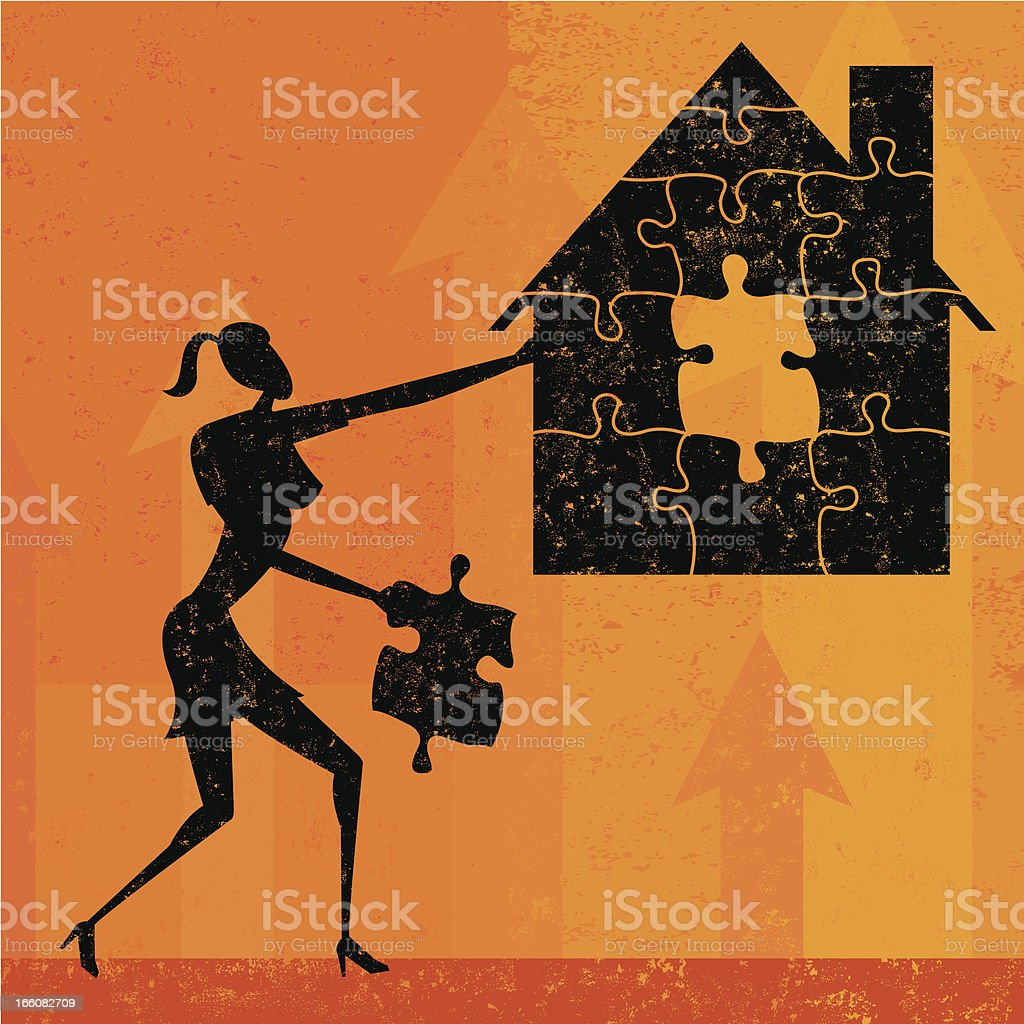 Solving the home mortgage crisis royalty-free stock vector art