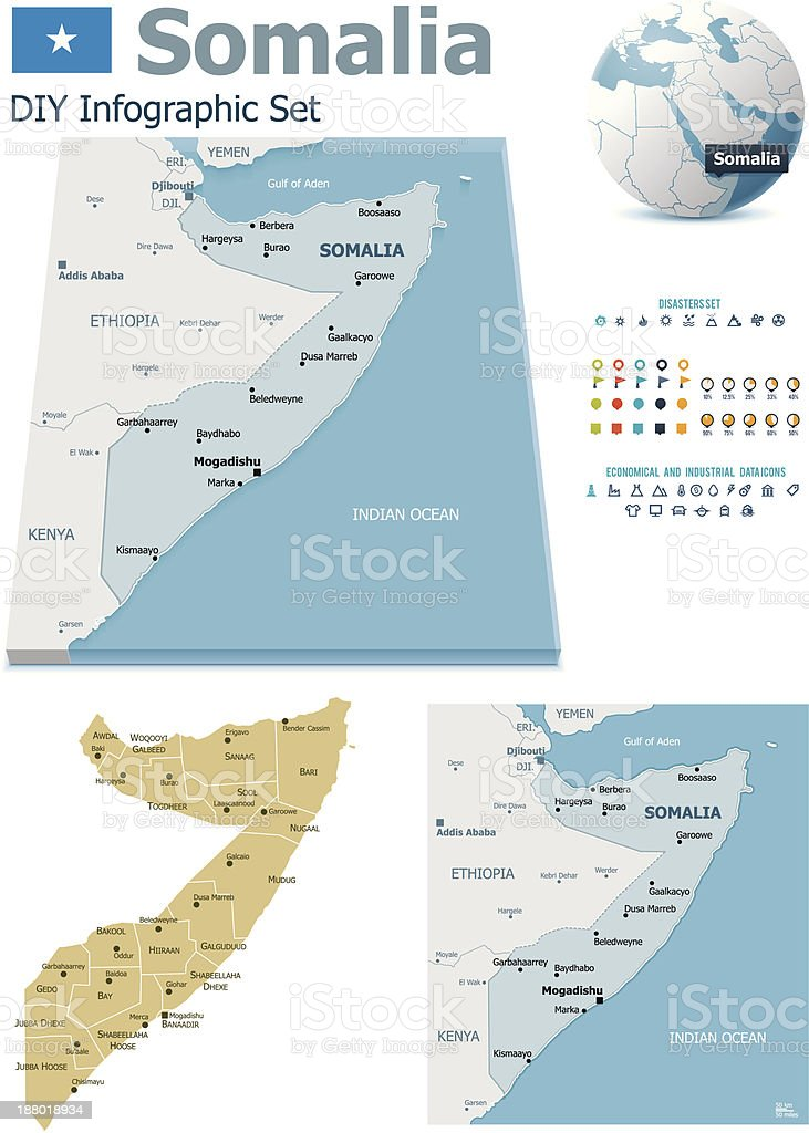 Somalia maps with markers royalty-free stock vector art