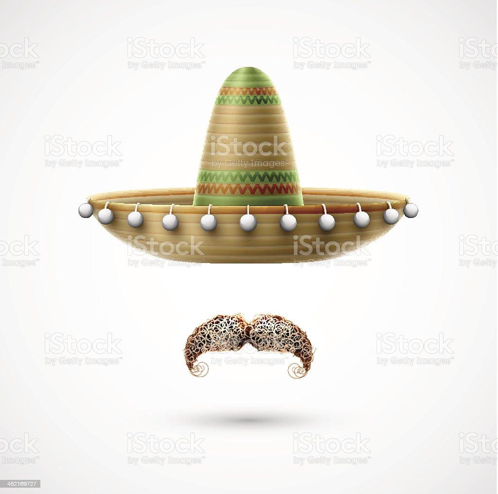 Sombrero and mustache royalty-free stock vector art