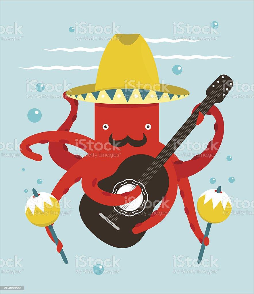 Sombrero Macho Moustache Octopus Playing Guitar royalty-free stock vector art