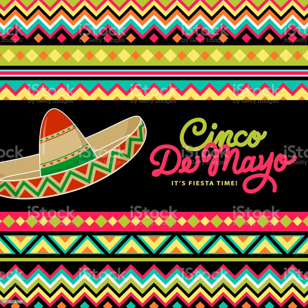 Sombrero On Mexican Background vector art illustration