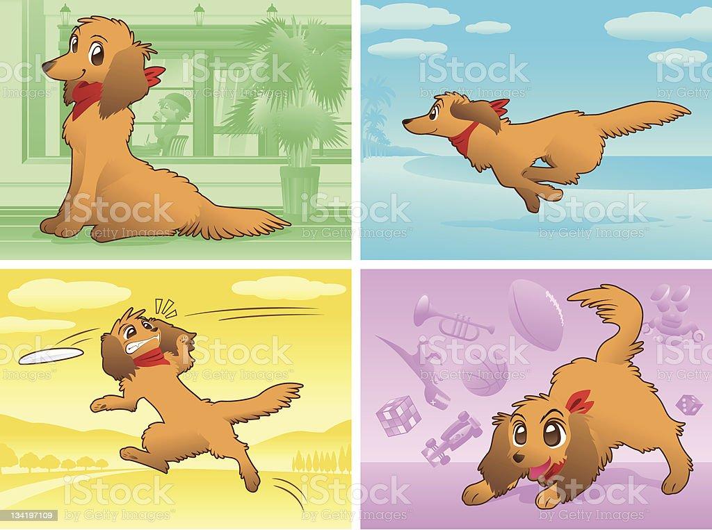 いくつかの犬のシーン royalty-free stock vector art