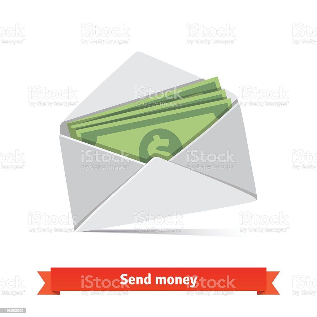 Some dollar bills in white envelope vector art illustration