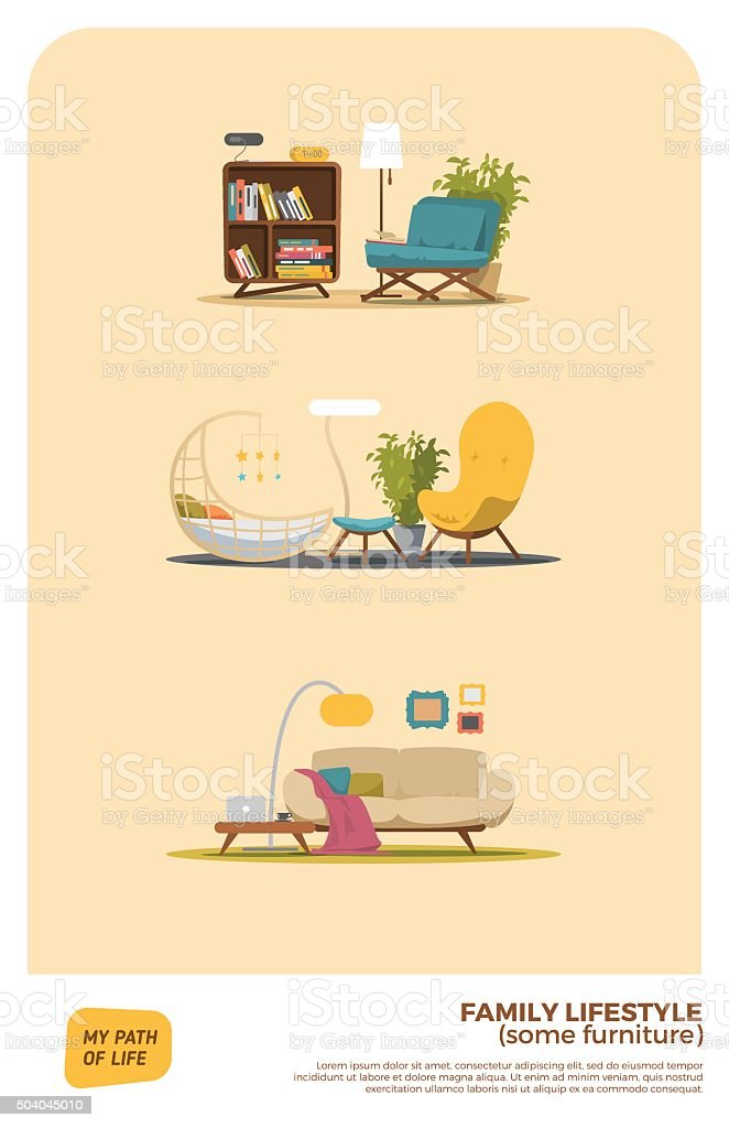 Some furniture set vector art illustration