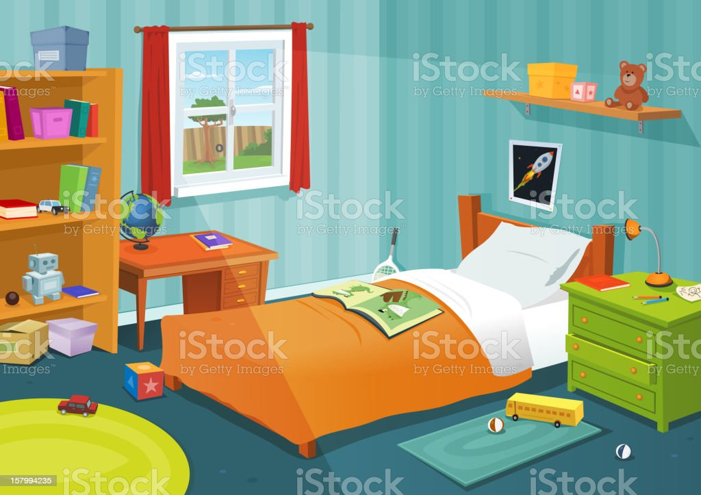 Some Kid Bedroom vector art illustration