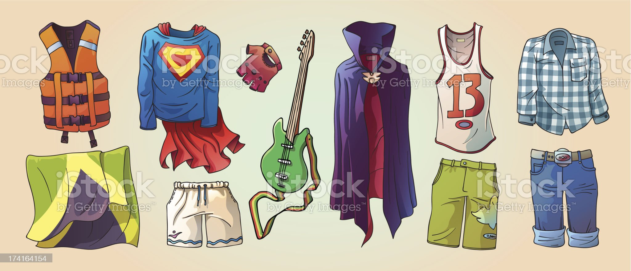 Some Original Clothes and the Guitar royalty-free stock vector art
