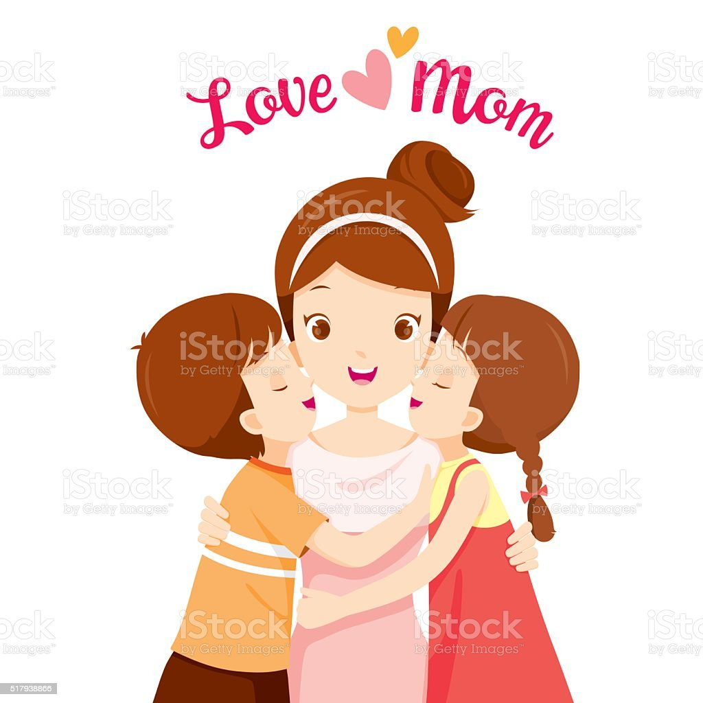 Son And Daughter Hugging Mother And Kissing On Her Cheeks vector art illustration