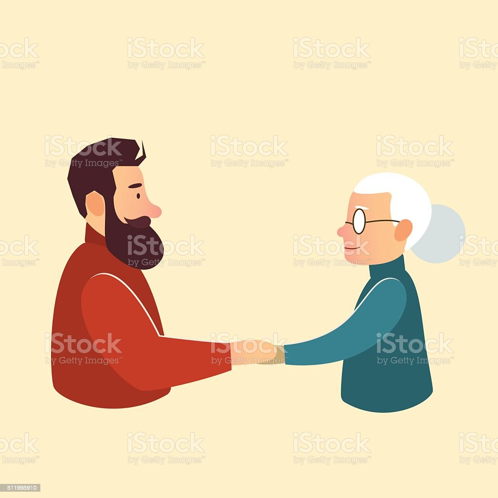 son or grandson with mother grandmother vector art illustration