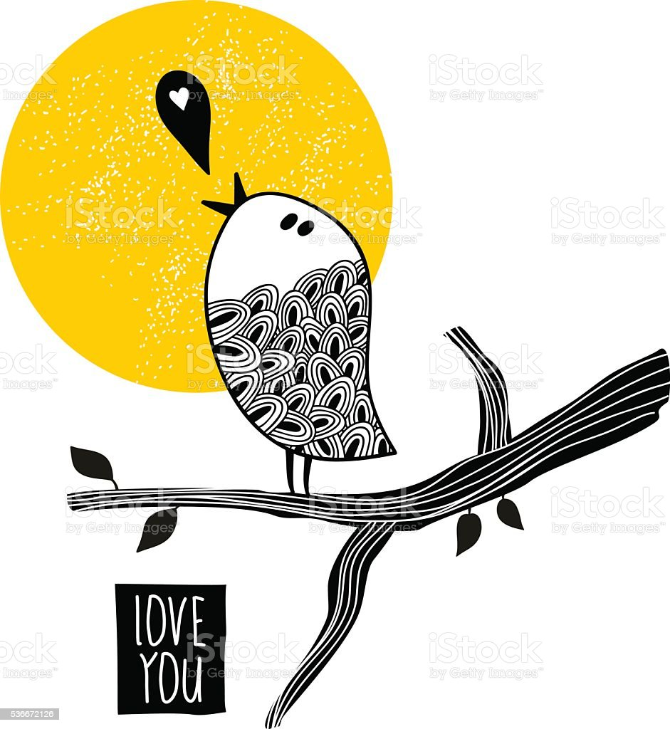 Song about love. vector art illustration