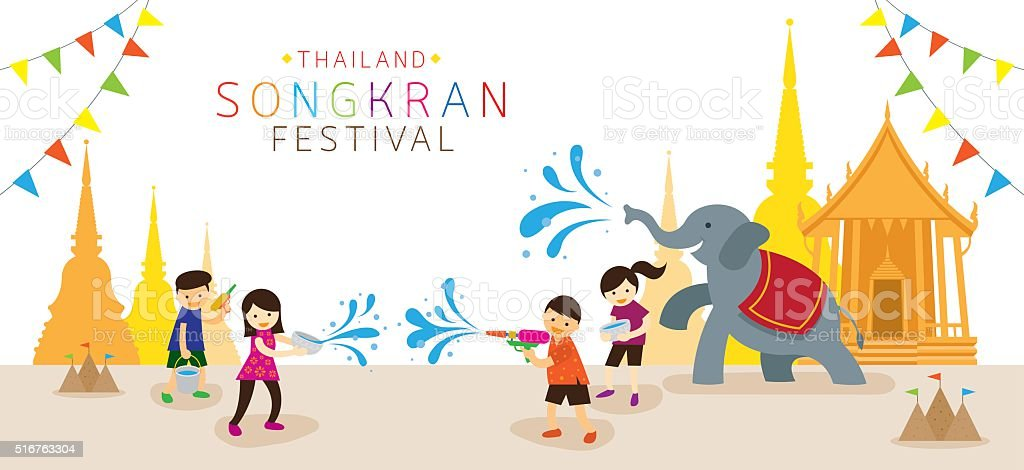 Songkran Festival, Kids Playing Water in Temple vector art illustration