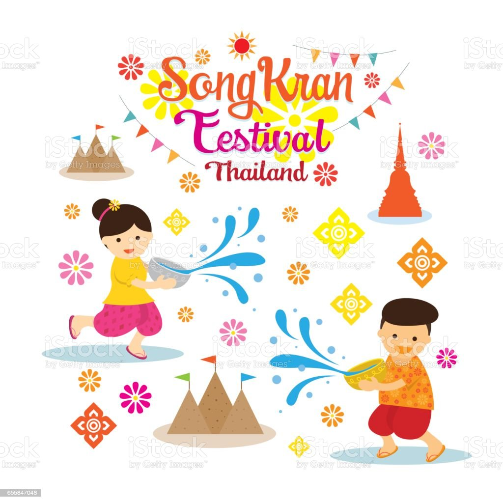 Songkran Festival, Kids Playing Water vector art illustration
