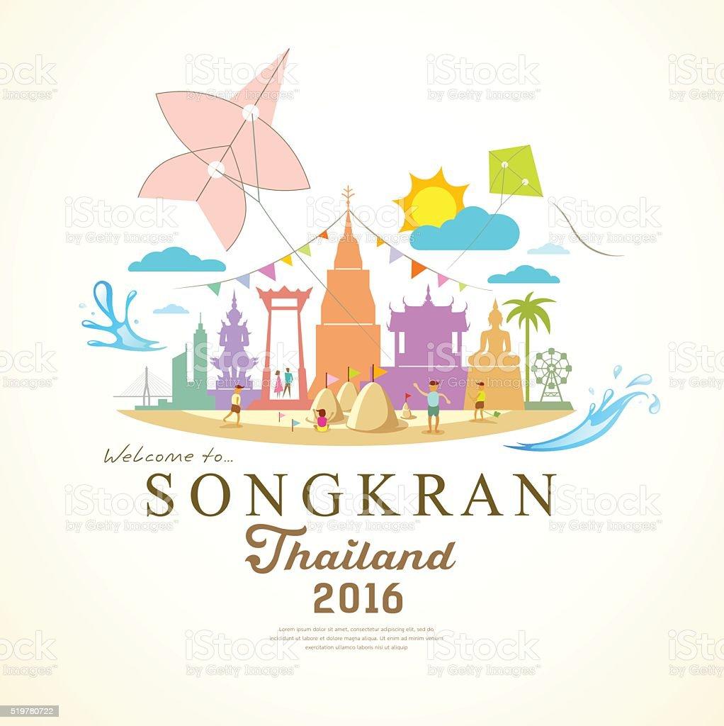 Songkran Festival Period of April of Thailand vector art illustration