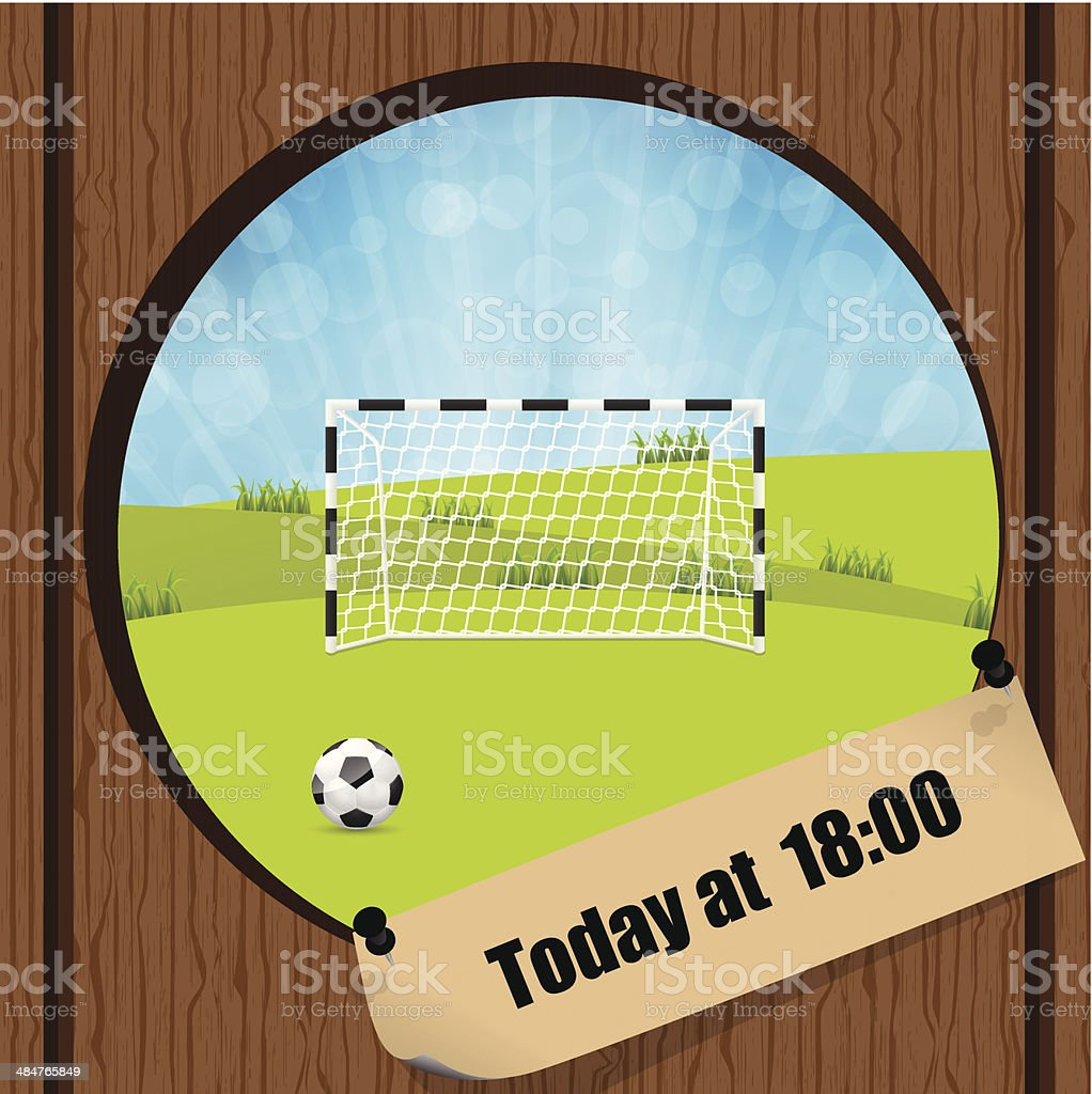 Sooccer ball and gate in wooden fence hole royalty-free stock vector art