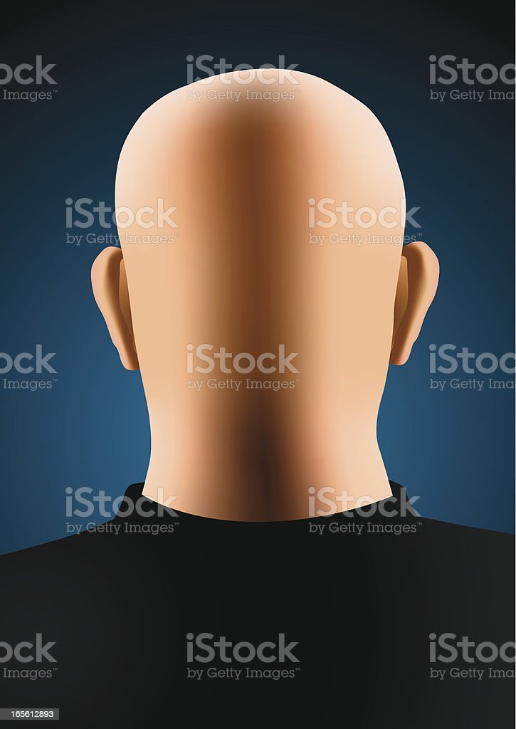 Bald man vector art illustration