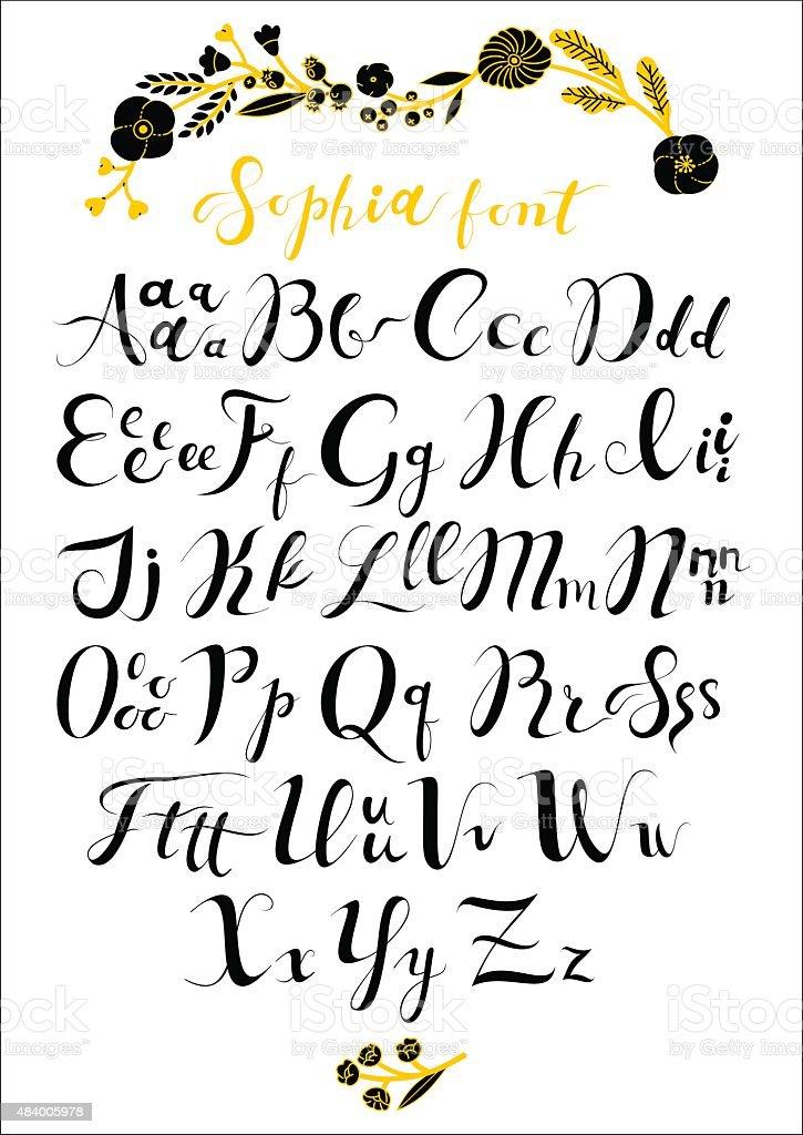 Sophia Calligraphic Font vector art illustration