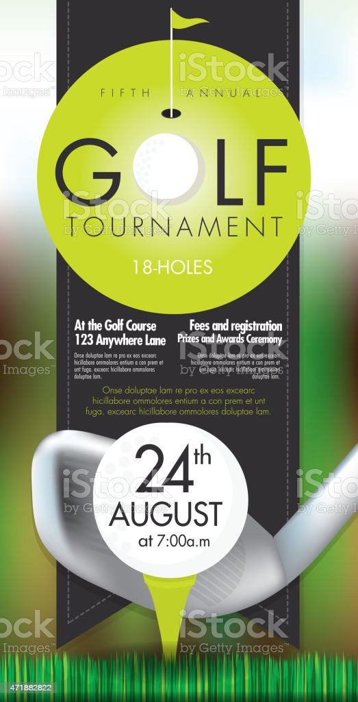 Sophisticated Golf tournament invitation design template on bokeh vector art illustration