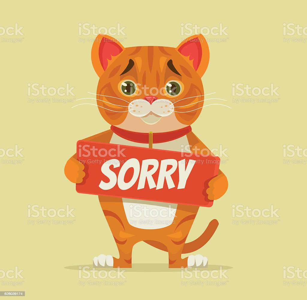 Sorry cat character hold apology plate vector art illustration