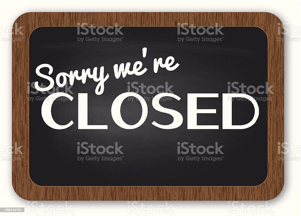 Sorry we're closed sign royalty-free stock vector art
