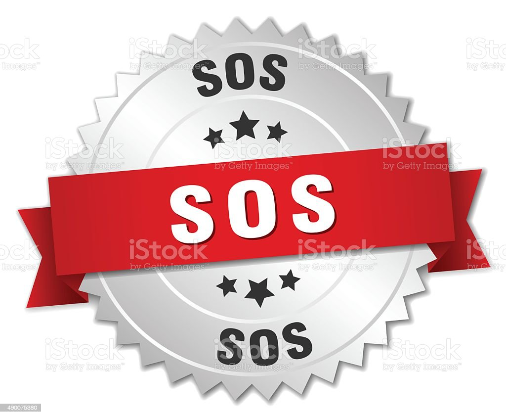 sos 3d silver badge with red ribbon vector art illustration