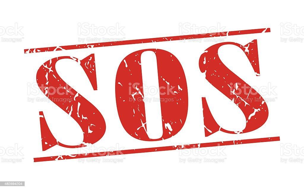 sos red grunge vintage stamp isolated on white background vector art illustration
