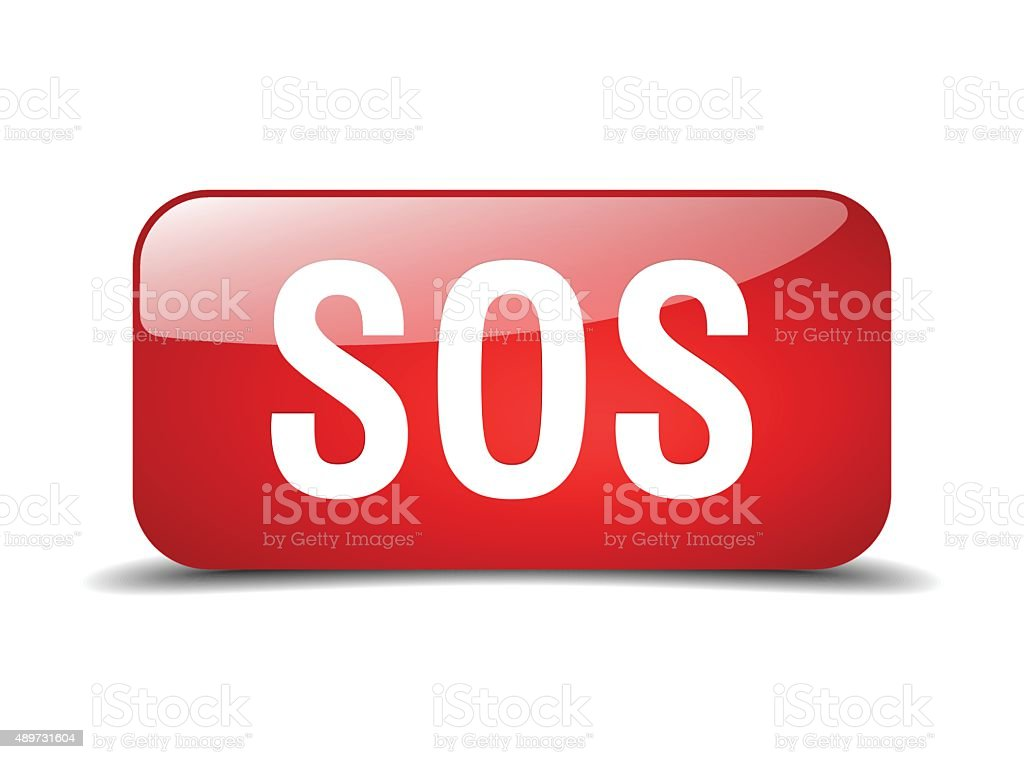 sos red square 3d realistic isolated web button vector art illustration