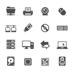 Technology and Computers vector symbols and icons stock