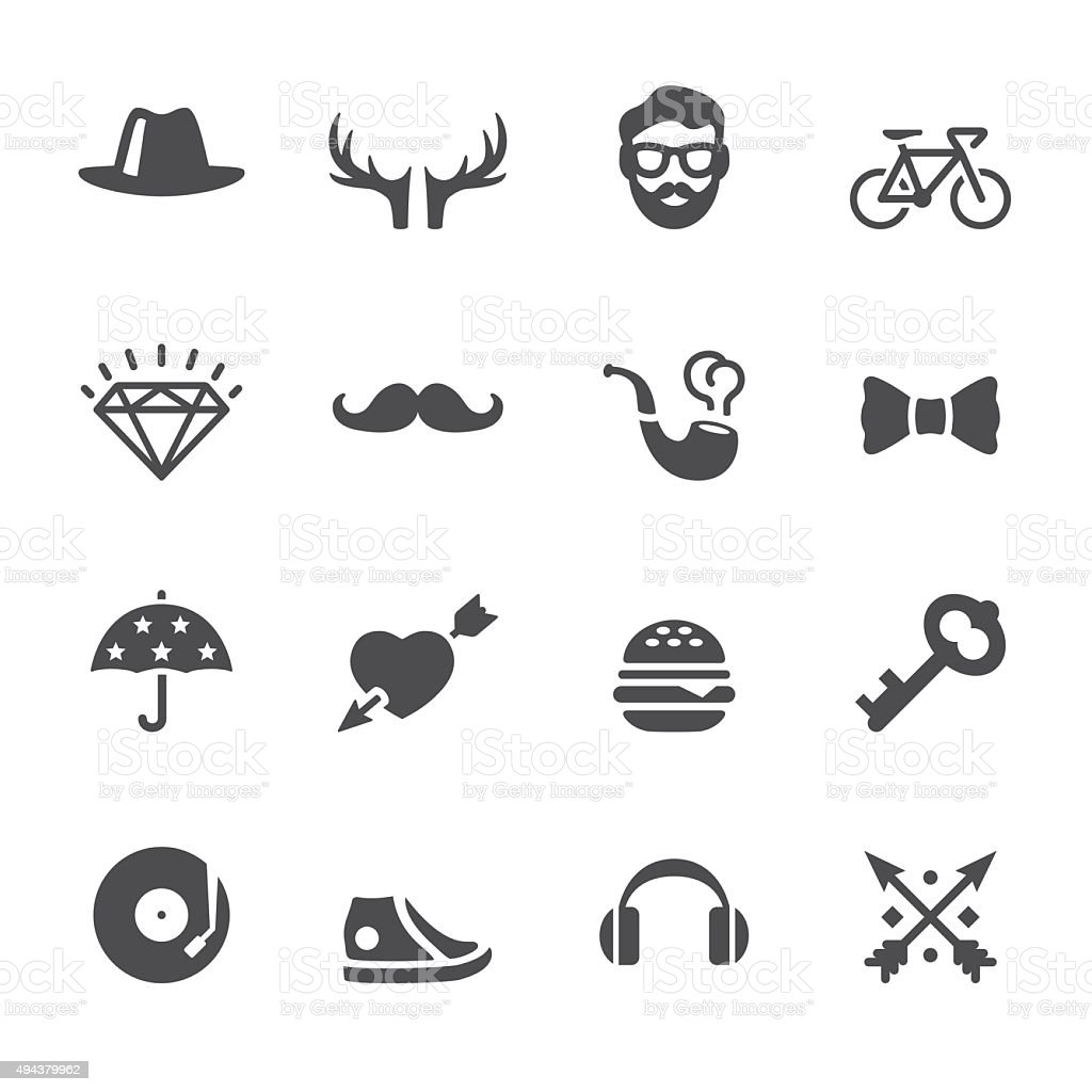 Soulico icons - Hipster style set vector art illustration