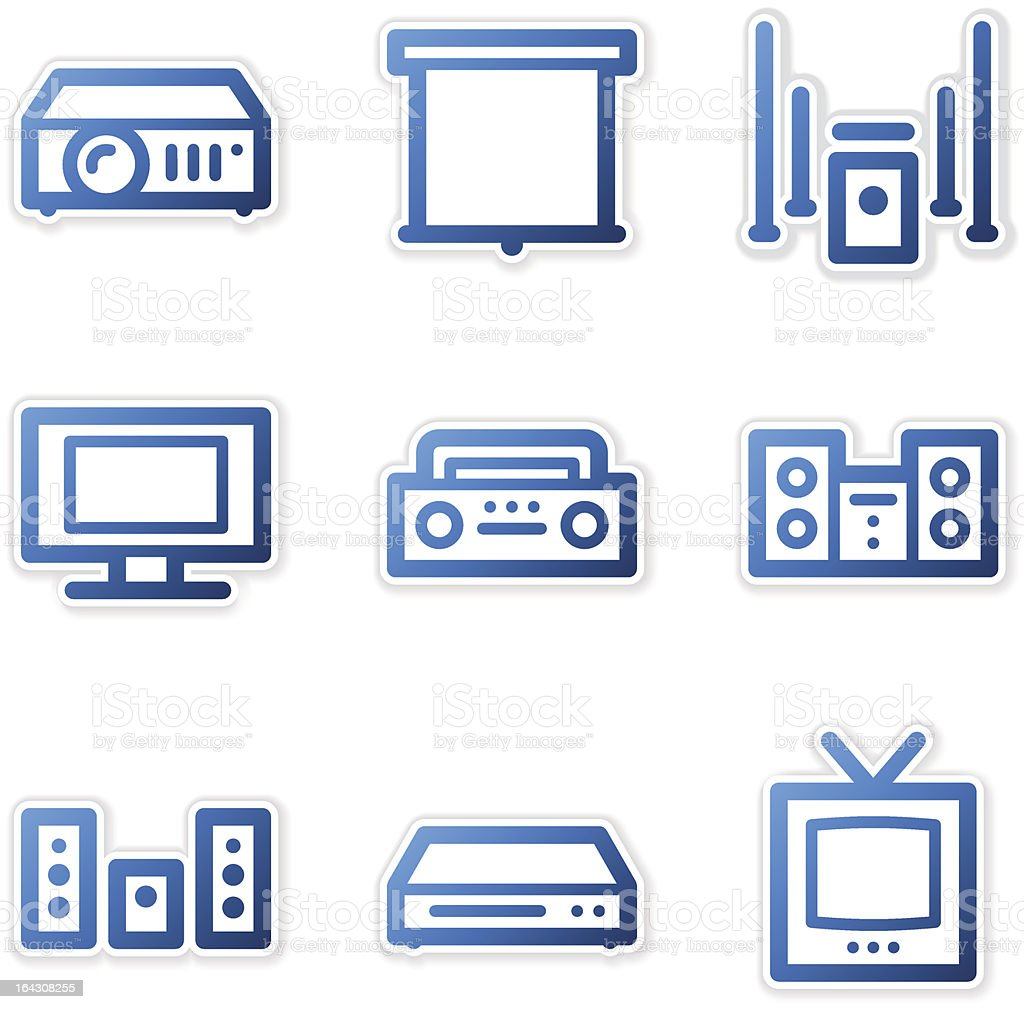 Sound and cinema icons, blue contour series vector art illustration