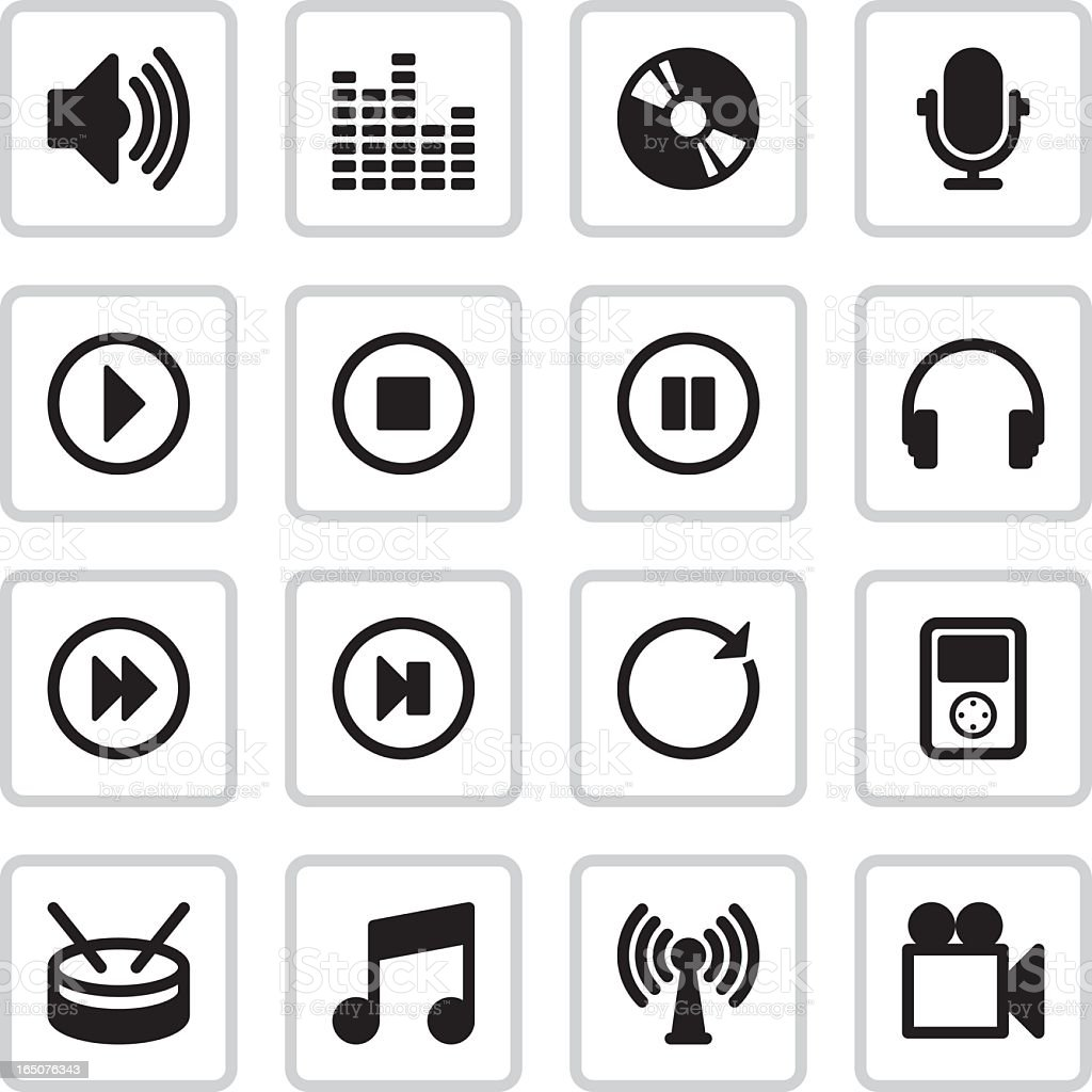 Sound and Music Icons | Black vector art illustration