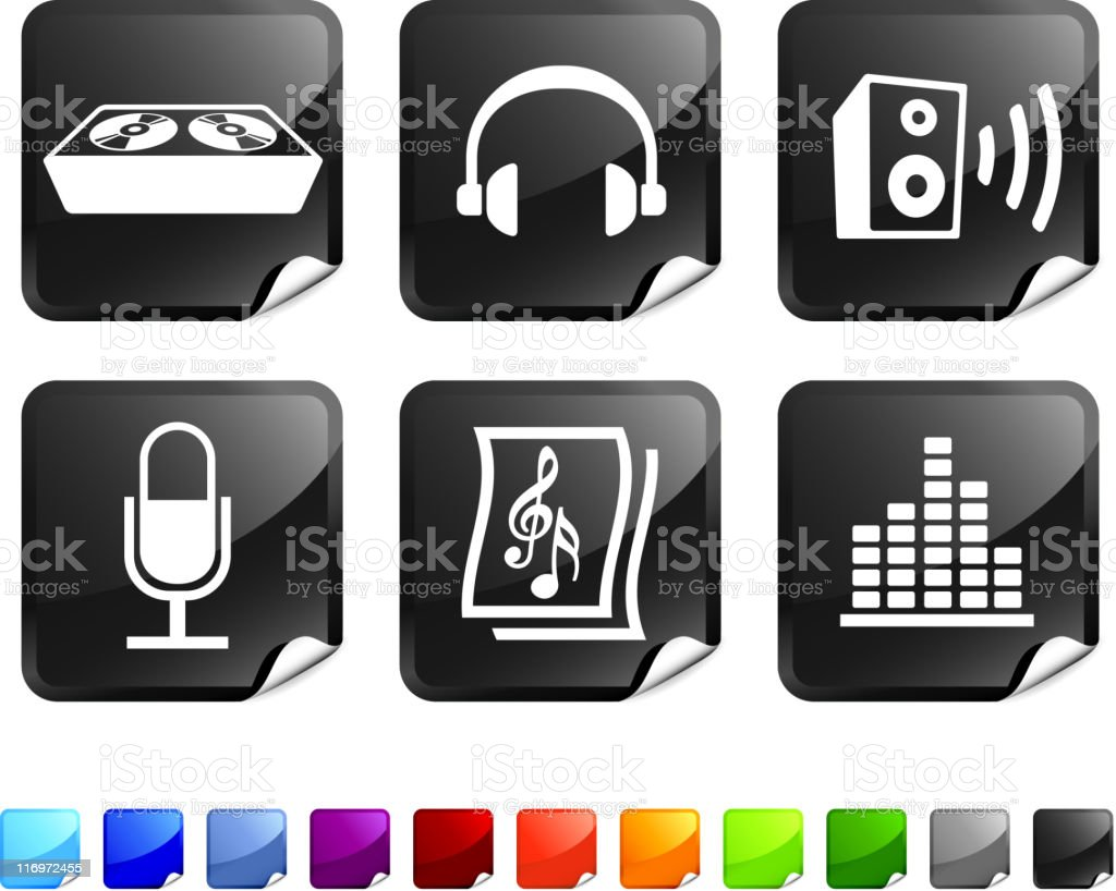 sound and music vector icon set vector art illustration