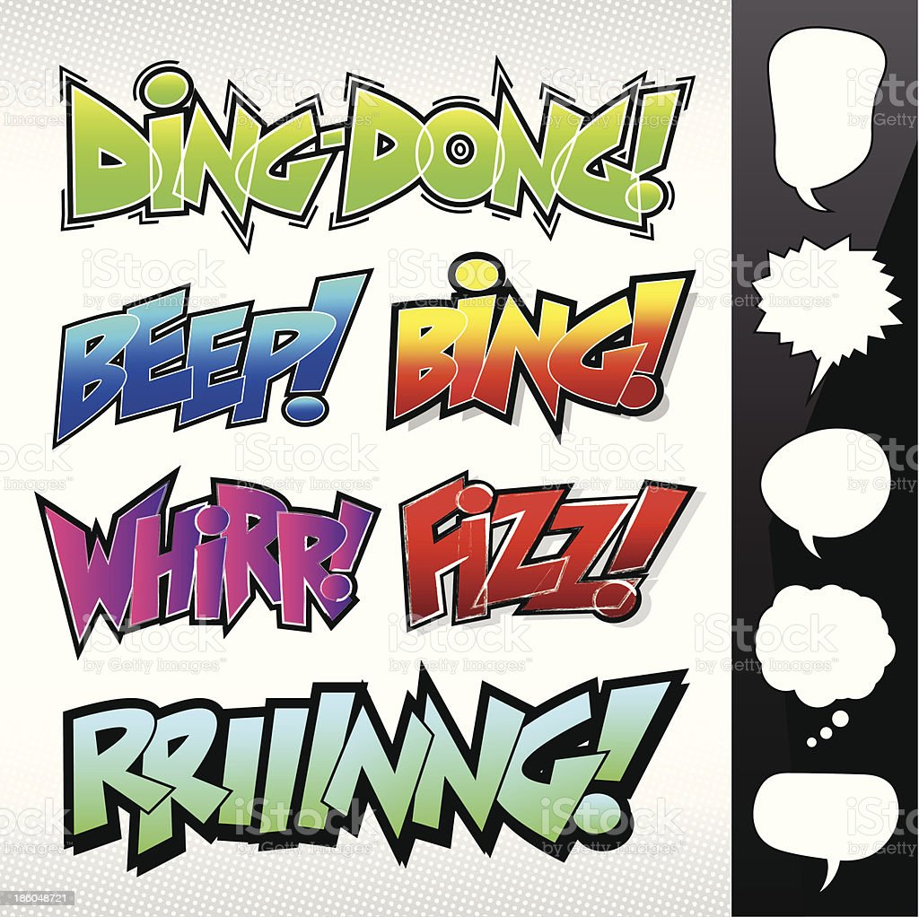 Sound Effects: Comic Book / Graffiti Style with Speech Bubbles 2 vector art illustration