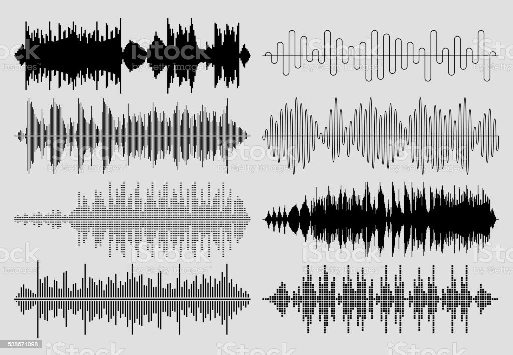 Sound music waves vector set. Musical pulse or audio charts vector art illustration