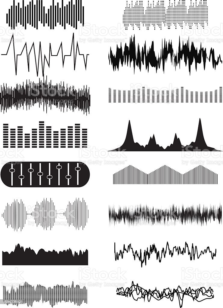 Sound wave icons set vector art illustration