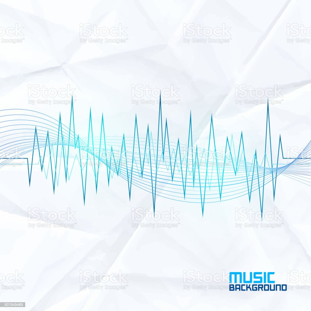 Sound Wave on Paper Background. Abstract Equalizer vector art illustration