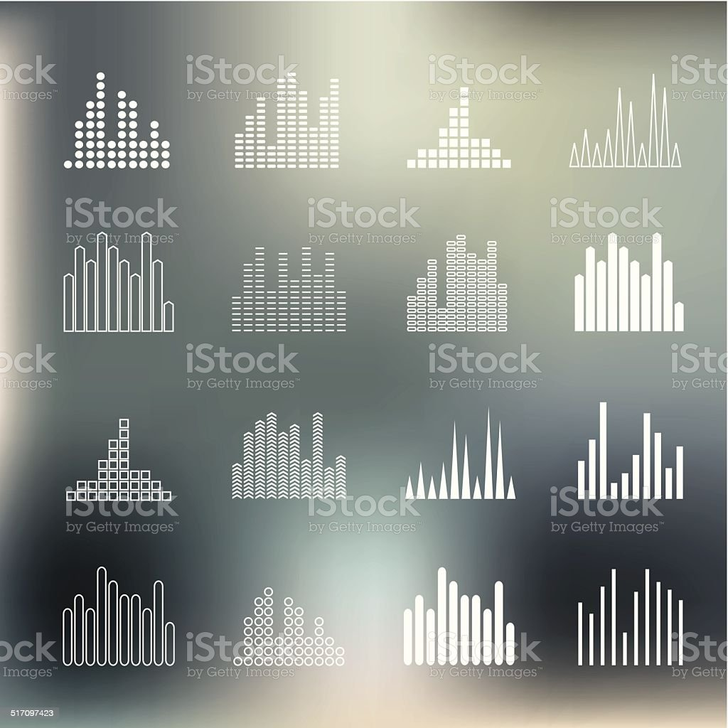 Sound wave shapes on blur background. vector art illustration