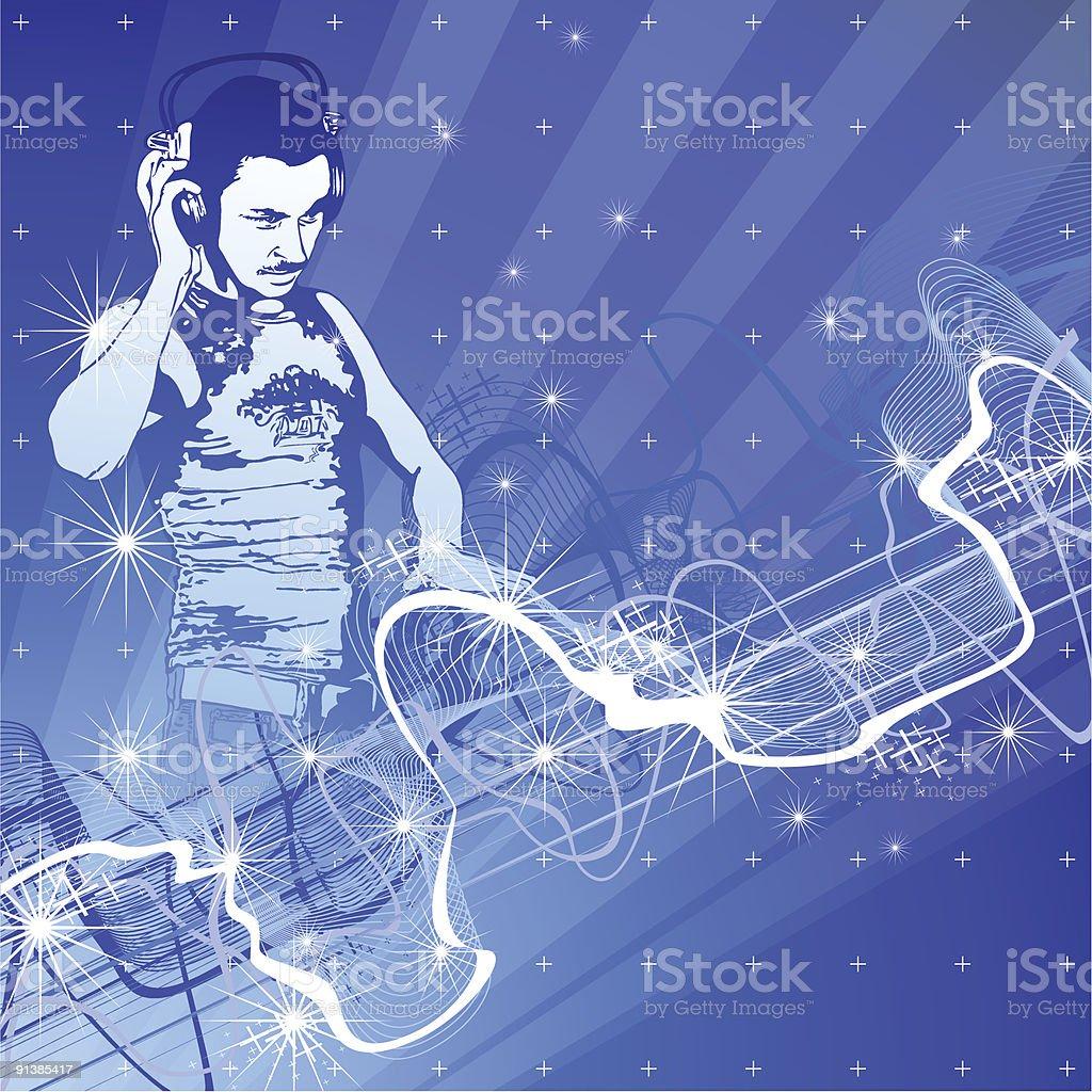 DJ & sound wave royalty-free stock vector art