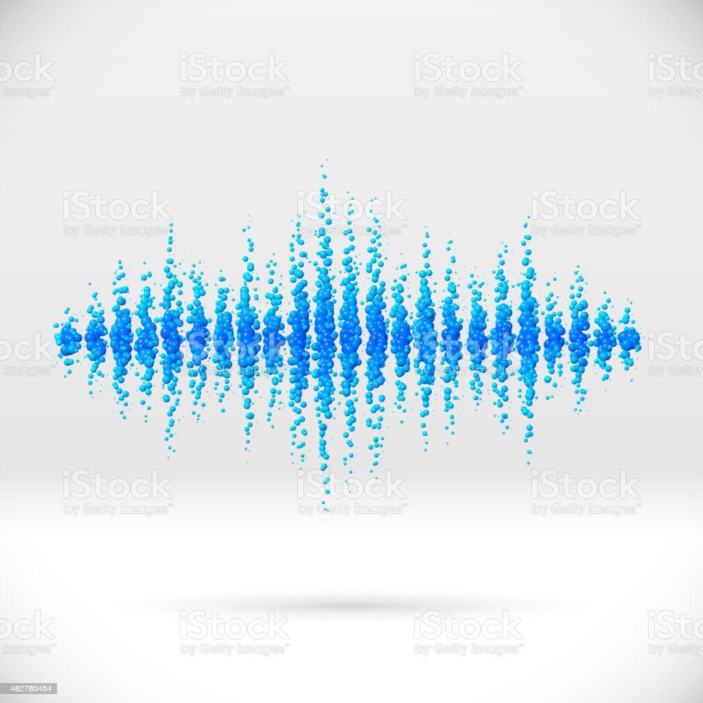 Sound waveform made of scattered balls vector art illustration