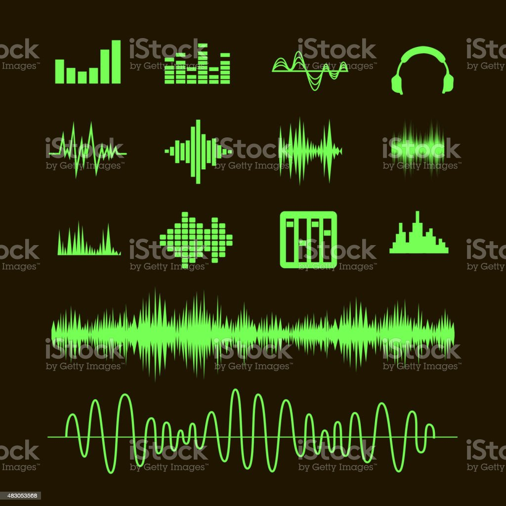 Sound waveforms.  waves and musical pulse icons vector art illustration