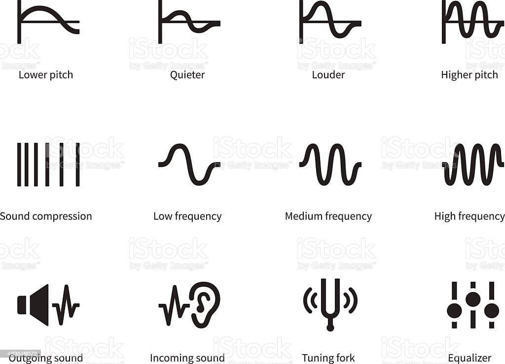 Sound waves icons on white background vector art illustration