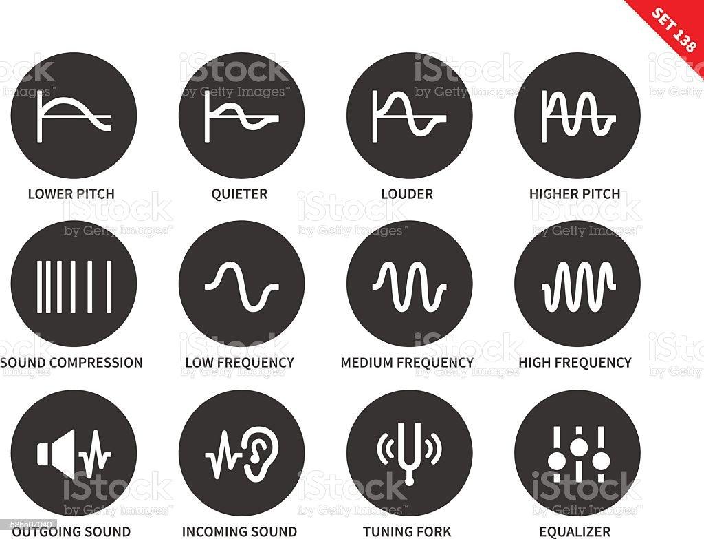 Sound waves icons on white background. vector art illustration