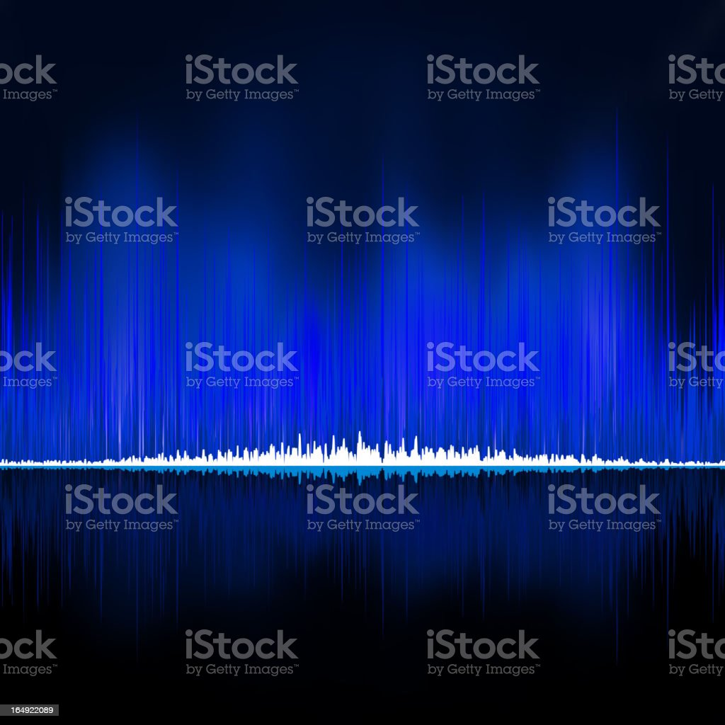 Sound waves oscillating on black background. EPS 8 royalty-free stock vector art