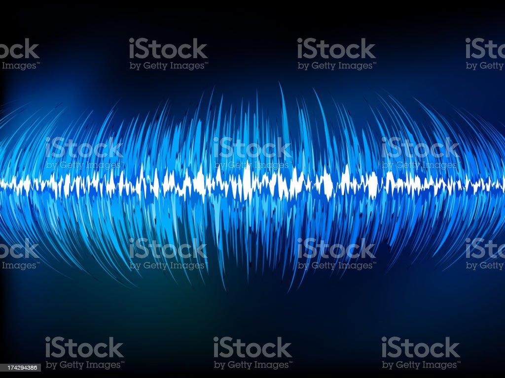 Sound waves oscillating on black. EPS 10 royalty-free stock vector art