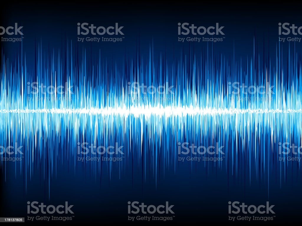 Sound waves oscillating on black. EPS 10 royalty-free stock vector art