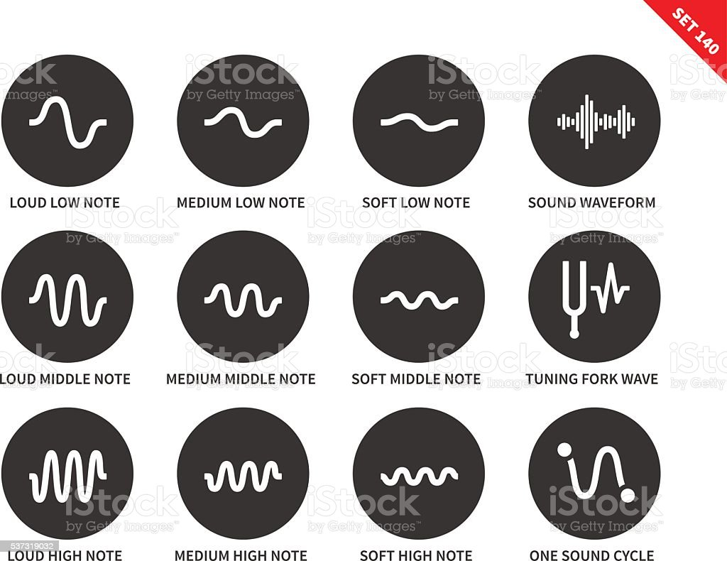 Sound waves set icons on white background. vector art illustration
