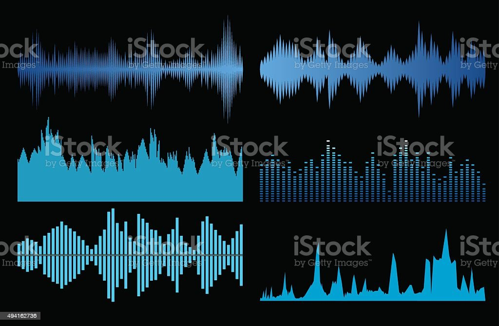 Sound waves set vector art illustration