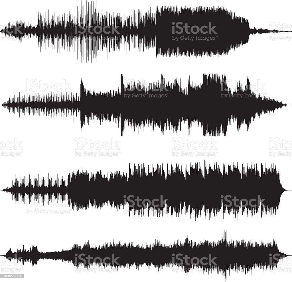 sound waves waveforms sound tracks vector art illustration