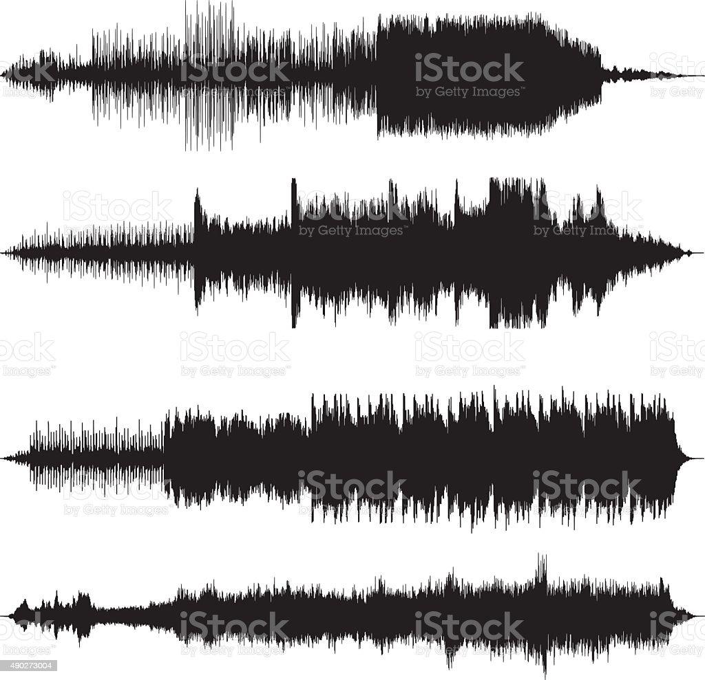 sound waves waveforms sound tracks vector art illustration