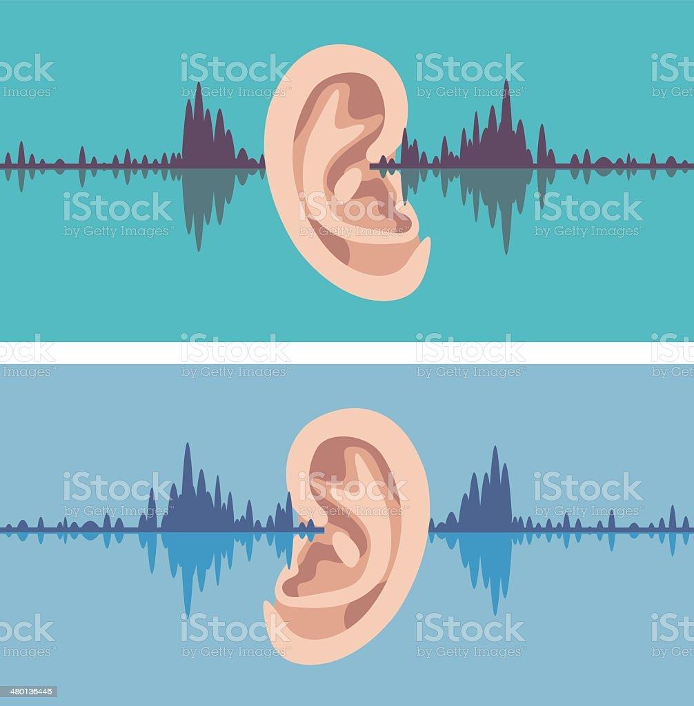 Soundwave through the human ear vector art illustration